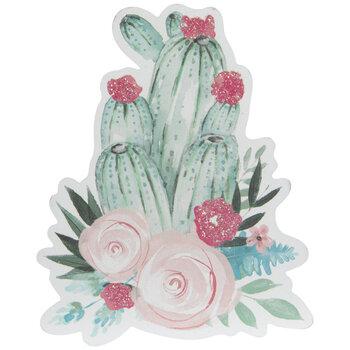 Floral Cactus Painted Wood Shape
