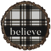 Believe Plaid Wood Magnet