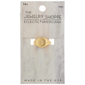 10K Gold Plated Floral Signet Ring - Size 8