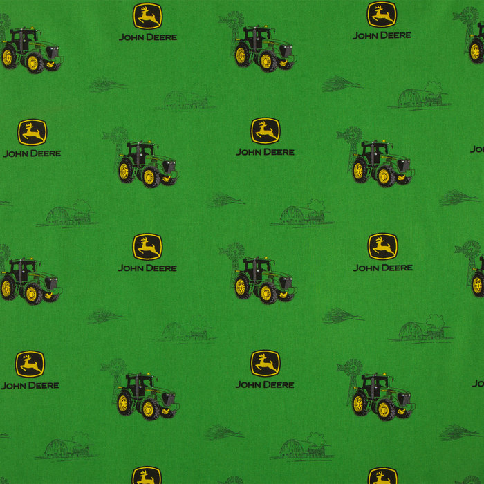 SPRING CREATIVE John Deere Blue /& Green Plaid 100/% Cotton Licensed Farm Tractor Fabric BY