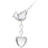 Crystal Cardinal & Heart Ornament