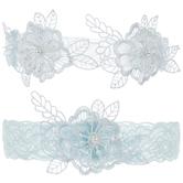 Blue Floral Garters
