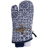 Navy & White Oven Mitt & Kitchen Towels
