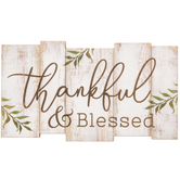 Thankful & Blessed Wood Magnet