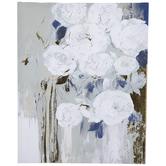 Blue & Gold Foil Floral Canvas Wall Decor