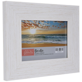 """White Distressed Wood Look Frame - 6"""" x 4"""""""