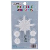 White Glitter Starburst Mini Tree Topper & Ornaments