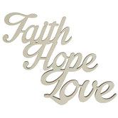 Faith Hope Love Wood Cutout