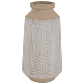 White & Brown Herringbone Vase