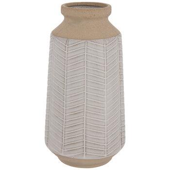 White & Brown Herringbone Vase