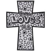 Jesus Loves Me Fuzzy Art Crosses
