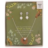 Glass Pearl Necklace & Earrings