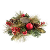 Pinecone & Ornament Candle Holder Centerpiece