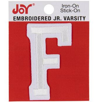 """White Junior Varsity Letter Iron-On Applique F - 2"""""""