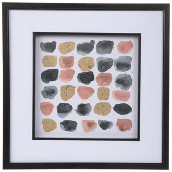 Pink, Gray & Gold Watercolor Swatches Framed Wood Wall Decor
