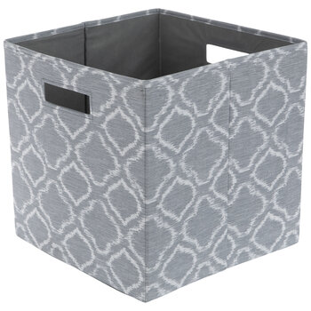 Gray & White Quatrefoil Collapsible Storage Container