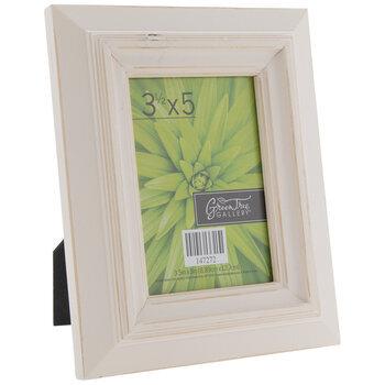 "White Distressed Wood Frame - 3 1/2"" x 5"""