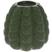 Green Ribbed Leaf Vase
