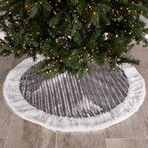Gray & Silver Foil Snowflakes Velvet Tree Skirt