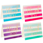 Watercolor Striped Thank You Cards