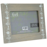 "Gray Aztec Wood Frame - 6"" x 4"""