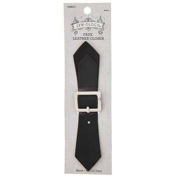 Black Pointed Faux Leather Strap With Buckle