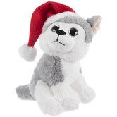 Husky Dog With Santa Hat Plush