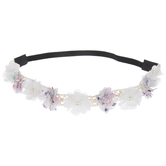 White Flowers, Pearls & Lace Headband