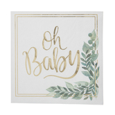 Gold Foil Oh Baby Napkins - Small
