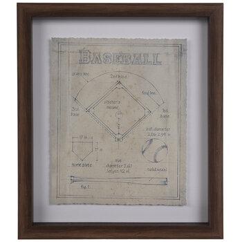 Baseball Diagram Framed Wall Decor