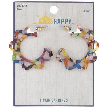 Multi-Color Floral Hoop Earrings