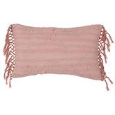 Pink Stitched Leaf Tasseled Pillow