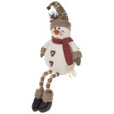 Snowman With Heart Buttons Shelf Sitter