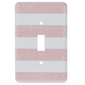 White & Pink Glitter Striped Single Switch Plate