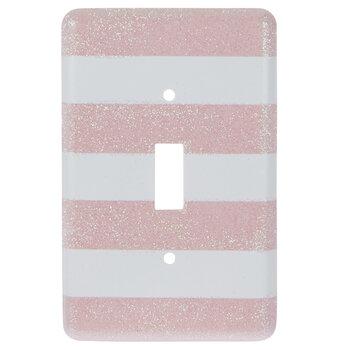 White & Pink Glitter Striped Single Switch Plate