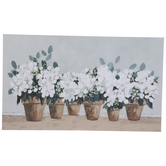 White Flowers In Pots Canvas Wall Decor