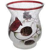 Cardinal Glass Candle Holder