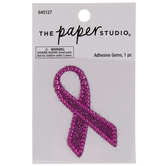 Pink Ribbon Glitter & Rhinestones Sticker