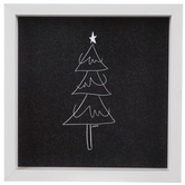 Christmas Tree Sketch Wood Wall Decor