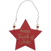 Happy Fourth Of July Star Ornament