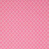 Pink & White Quatrefoil Cotton Calico Fabric