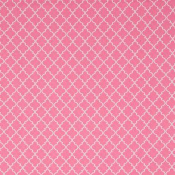 Pink & White Quatrefoil Cotton Calico Fabric
