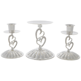 Silver Double Heart Unity Candle Holders