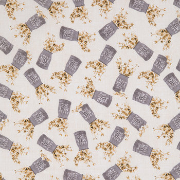 Fresh Milk Metal Tin Cotton Calico Fabric