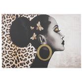 Side Profile Leopard Print Canvas Wall Decor