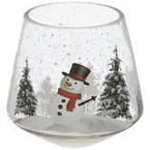 Snowman Glass Candle Holder