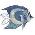 Dark Blue Fish Metal Wall Decor
