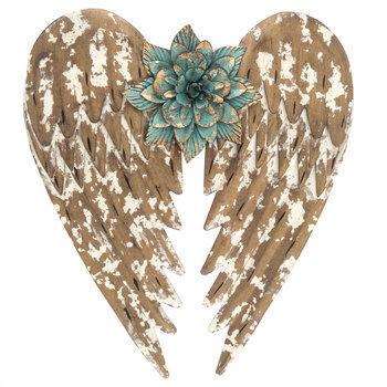 Angel Wings & Flower Metal Wall Decor