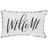 Welcome Pillow With Buffalo Check & Pom Poms