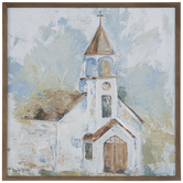 Brown & Blue Abstract Church Wood Wall Decor